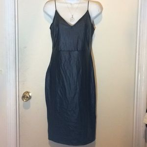 Forever 21 faux leather strapless black dress sz M